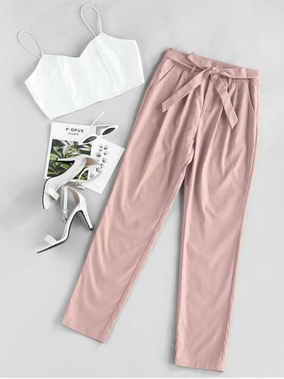 outfits ZAFUL Cami Crop Top With Pants Two Piece Set - LIGHT PINK M