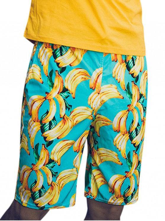 hot Banana Print Beach Vacation Shorts - MULTI M