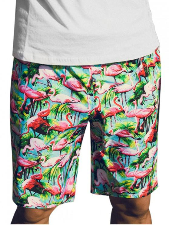 fancy Tropical Flamingo Pattern Board Shorts - MULTI L