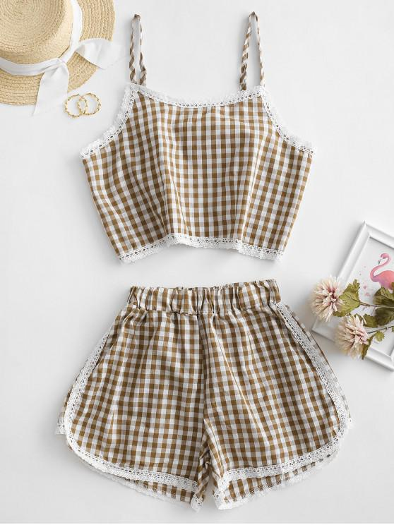 outfits Gingham Lace Panel Cami Two Piece Suit - BROWN XL