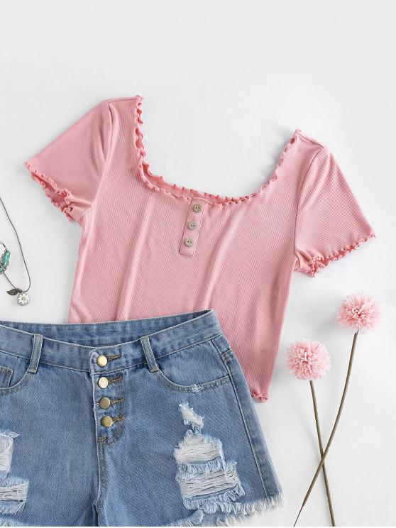 fashion ZAFUL Ribbed Frilled Scoop Neck Crop Tee - PINK M
