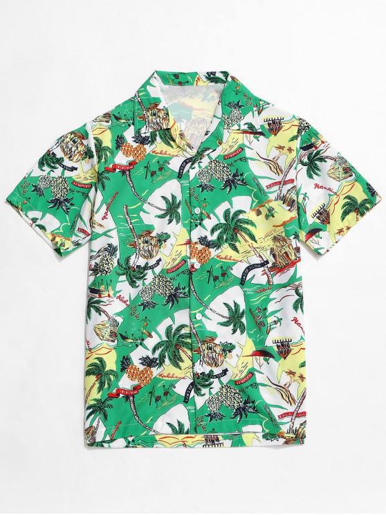 Camisa Hawaii Árbol con Palma - Verde de Tortuga Marina M