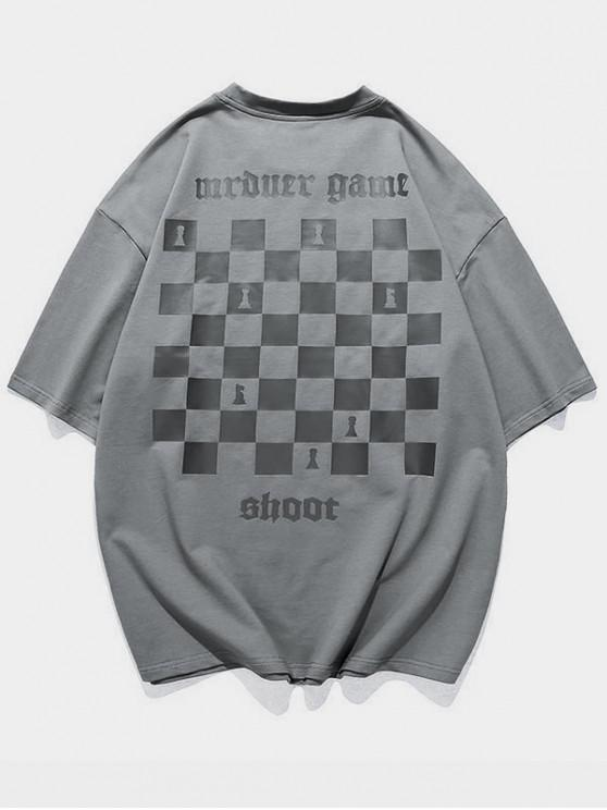 Chess Board Print Casual T-shirt - اللون الرمادي M