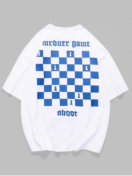 women's Chess Board Print Casual T-shirt - WHITE 3XL