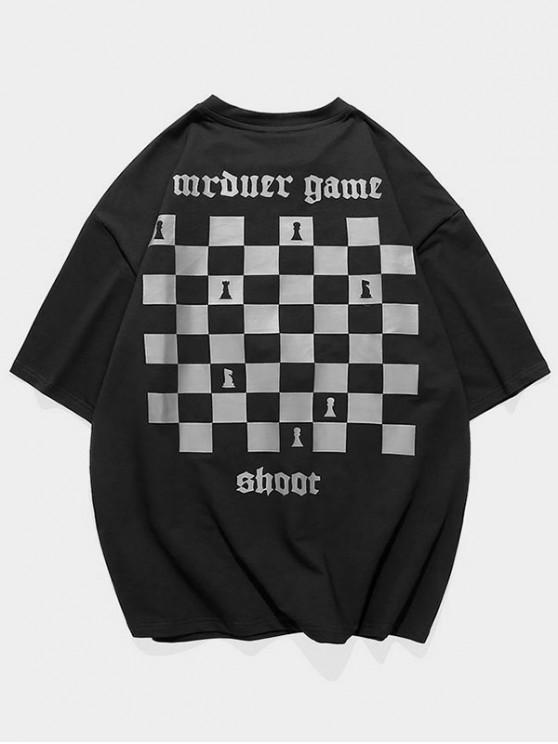 Chess Board Print Casual T-shirt - أسود 3XL