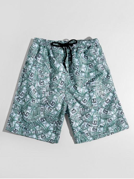 affordable One Hundred Dollar Allover Print Casual Shorts - MEDIUM TURQUOISE XS