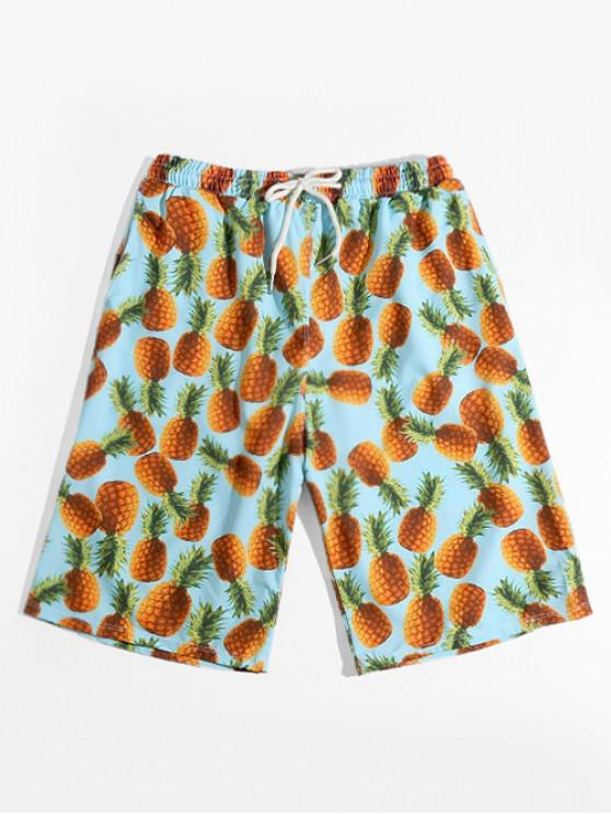 latest Pineapple Allover Print Vacation Shorts - MULTI L