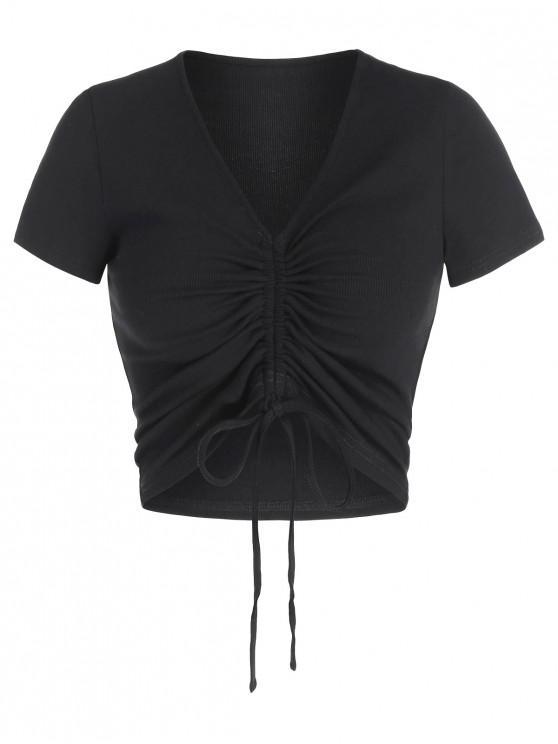 affordable ZAFUL Cinched V Neck Crop T Shirt - BLACK M