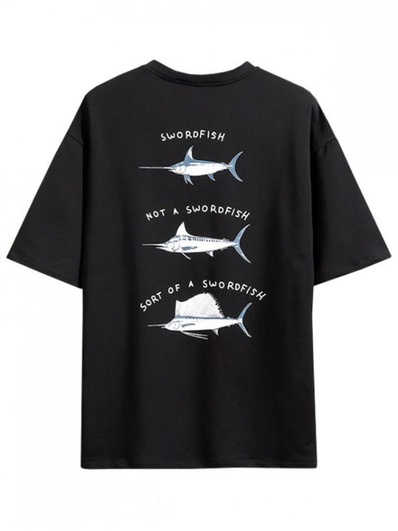 Swordfish Pattern Short Sleeve T-shirt - أسود M
