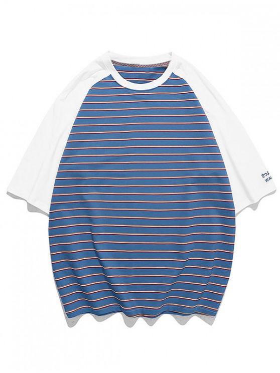 shop Striped Colorblock Raglan Sleeve T-shirt - NAVY BLUE 3XL