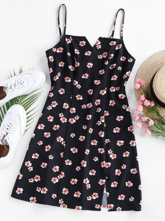 best ZAFUL Ditsy Floral V Cut Slit Cami Dress - BLACK L