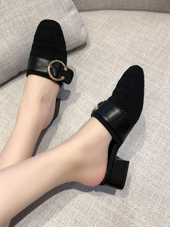 chic Square Toe Buckled Chunky Heel Shoes - BLACK EU 38