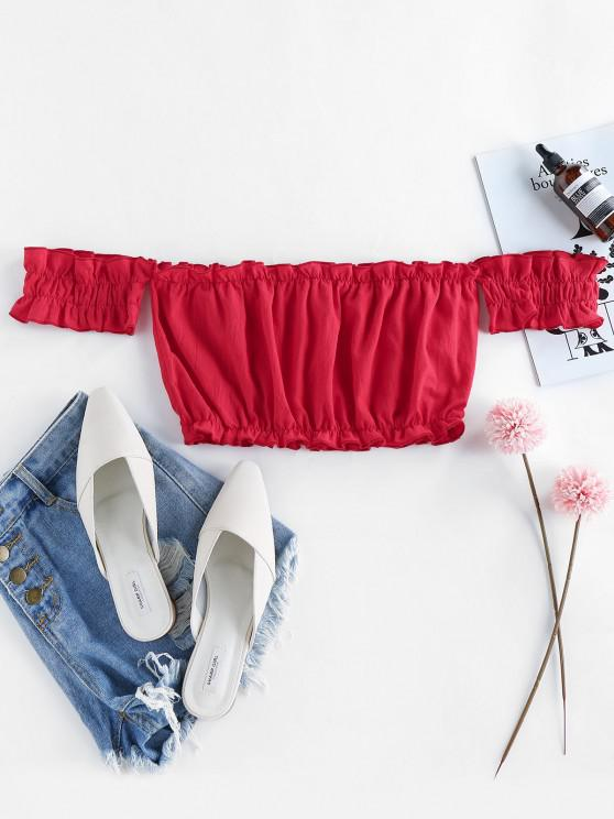 womens ZAFUL Off Shoulder Frilled Ruched Crop Top - RED XL