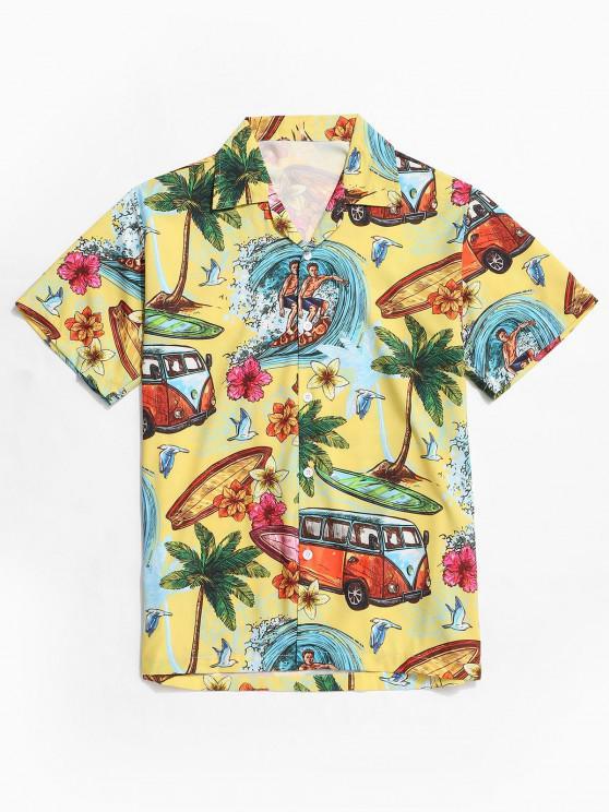 ladies Hawaii Seaside Print Vacation Button Shirt - YELLOW S
