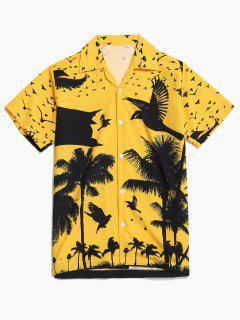 Coconut Palm Print Hawaii Vacation Shirt - Bright Yellow 2xl