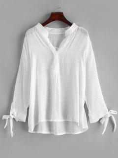 Tie Cuff Plunging Sheer Cover Up - White L