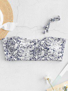 ZAFUL Leopard Snake Print Bandeau Bikini Top - Multi-a M