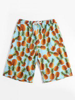 Shorts De Vacaciones Con Estampado De Piña Con Cordón Combinado - Multicolor Xs