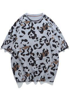 T-shirt Animal Motif à Manches Courtes - Gris 3xl
