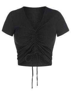 ZAFUL T-shirt Court Sanglé à Col V - Noir M