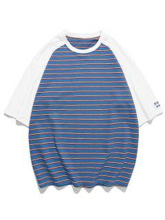 Striped Colorblock Raglan Sleeve T-shirt - Navy Blue 3xl