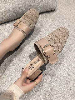 Square Toe Buckled Chunky Heel Shoes - Beige Eu 39