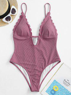 ZAFUL Ribbed Scalloped Backless One-piece Swimsuit - Medium Violet Red M