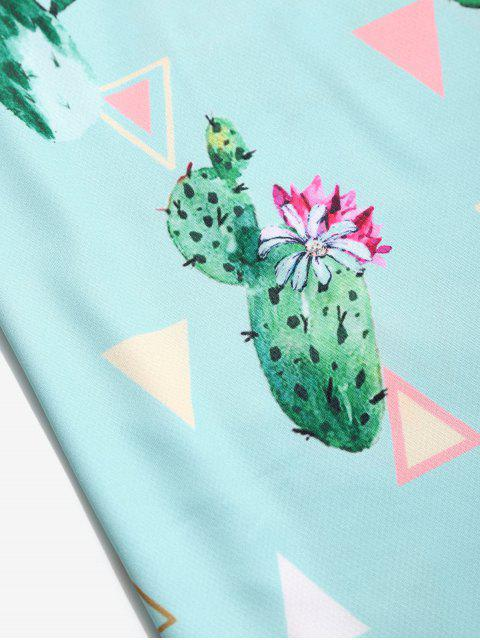 sale Cactus Flower Geometric Print Short Sleeve T-shirt - TURQUOISE 3XL Mobile