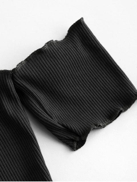 T-shirt Simple Epaule Dénudée à Ourlet en Laitue - Noir L Mobile