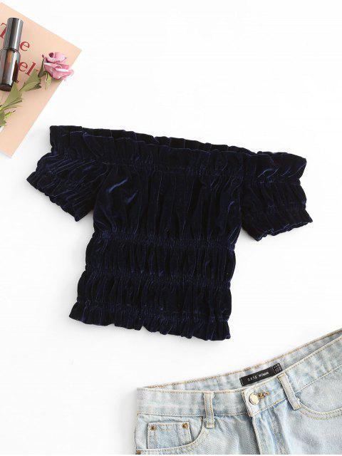 T-shirt Plissé à Epaule Dénudée en Velours - Bleu profond Taille Unique Mobile