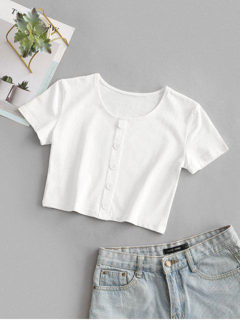 T-shirt Court en Couleur Unie avec Boutons - Blanc S Mobile