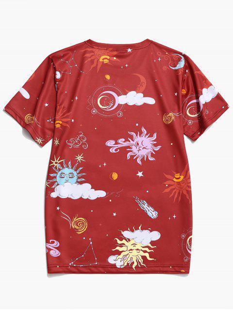 Maglietta con Stampa Grafica a Sole e Luna Dei Cartoni Animati - Vino Rosso 4XL Mobile