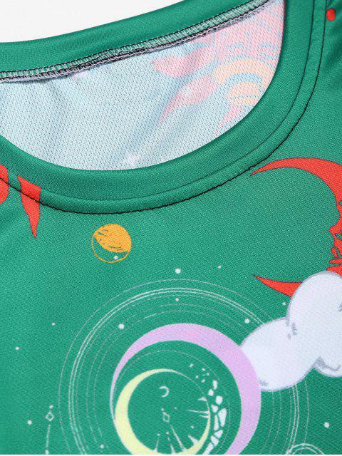 Maglietta con Stampa Grafica a Sole e Luna Dei Cartoni Animati - Verde Mare  XL Mobile