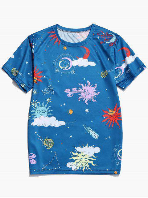 hot Cartoon Sun and Moon Graphic Short Sleeve T-shirt - OCEAN BLUE 3XL Mobile