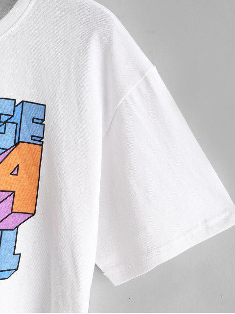 T-Shirt CourtLettreetChiffreImprimés - Blanc L Mobile