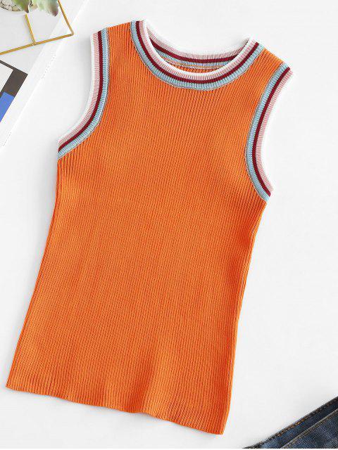 Camiseta Regata Listrada com Tela - Laranja Um Tamanho Mobile