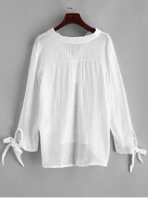 Cover Up Trasparente con Nudo en Espalda - Blanco XL Mobile