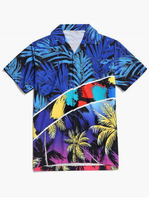 latest Vacation Tropical Coconut Palm Print Hawaii Shirt - COBALT BLUE M Mobile