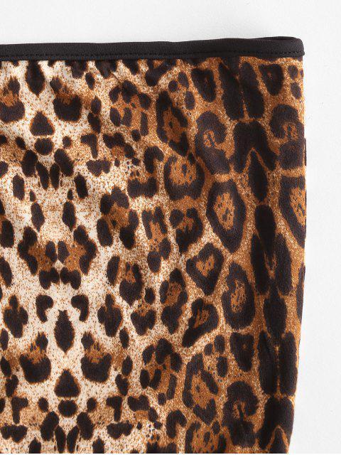 Top a Fascia con Stampa Leopardata a Contrasto - Multi Colori-A M Mobile