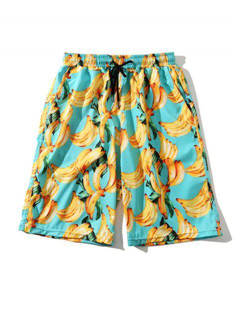hot Banana Print Beach Vacation Shorts - MULTI M Mobile