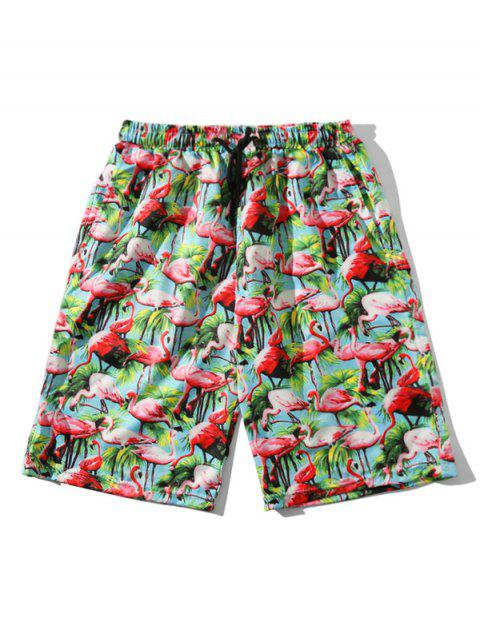 trendy Tropical Flamingo Pattern Board Shorts - MULTI XS Mobile