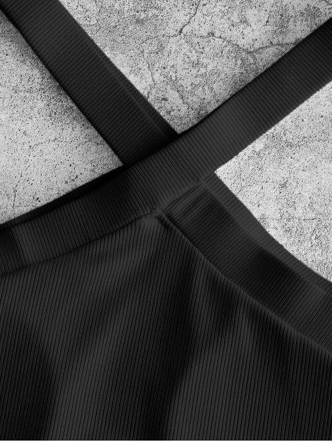 fashion ZAFUL Ribbed V Neck Cutaway Swim Top - BLACK L Mobile