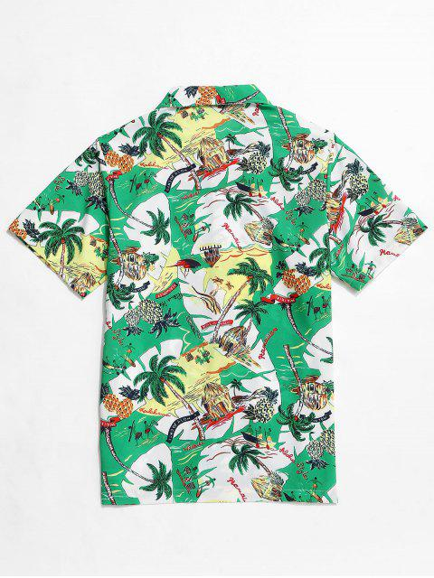 Hawaii Vacation Pineapple Palm Tree Shirt - سلحفاة البحر الخضراء 2XL Mobile