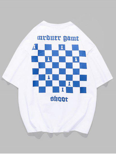 Chess Board Print Casual T-shirt - أبيض 3XL Mobile