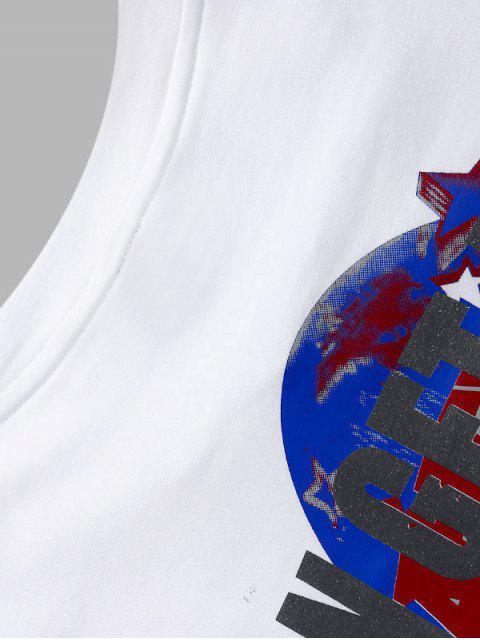 T-Shirt in Cotone Grafica con Maniche Corte - Bianca 2XL Mobile