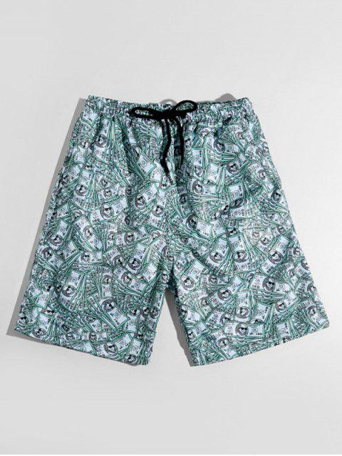 affordable One Hundred Dollar Allover Print Casual Shorts - MEDIUM TURQUOISE XS Mobile