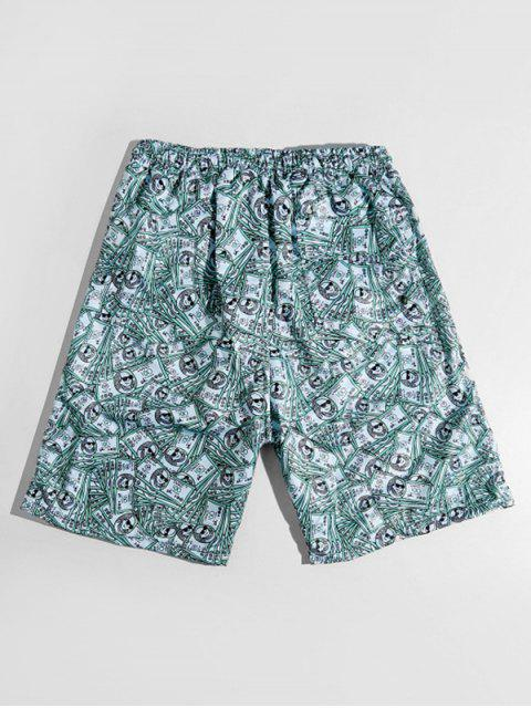 buy One Hundred Dollar Allover Print Casual Shorts - MEDIUM TURQUOISE S Mobile