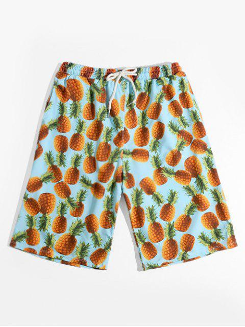 outfits Pineapple Allover Print Vacation Shorts - MULTI XS Mobile