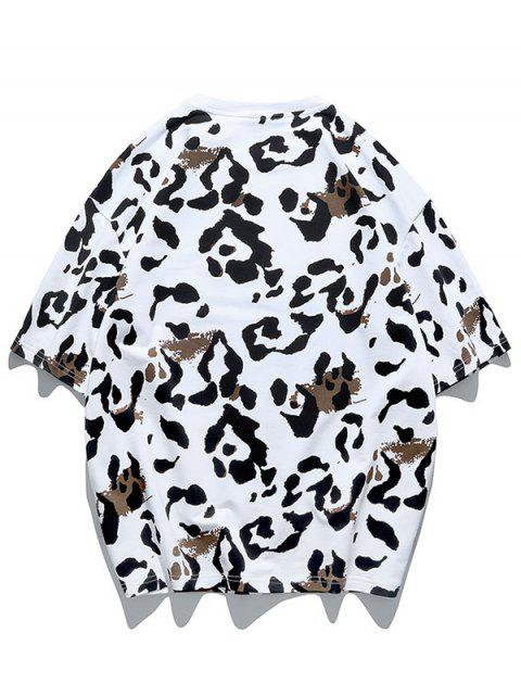 Camiseta de Cuello Redondo con Pintura de Animal - Blanco 2XL Mobile