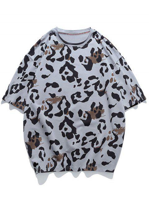 T-shirt Animal Motif à Manches Courtes - Gris 3XL Mobile